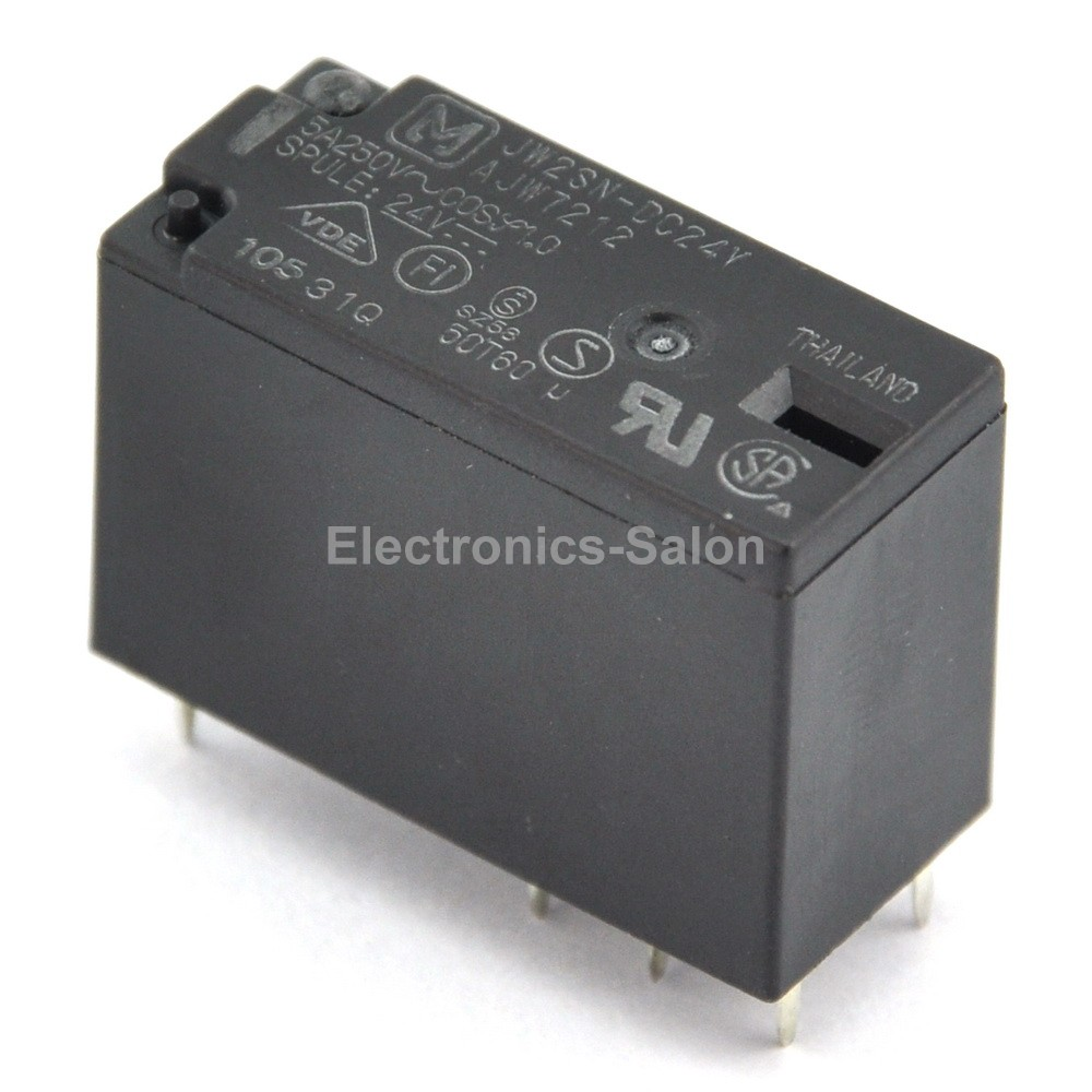 ( 100 Pcs/lot )  JW2SN-DC24V 5A Power Relay, DPDT/2 Form C, Ideal For Power Supply