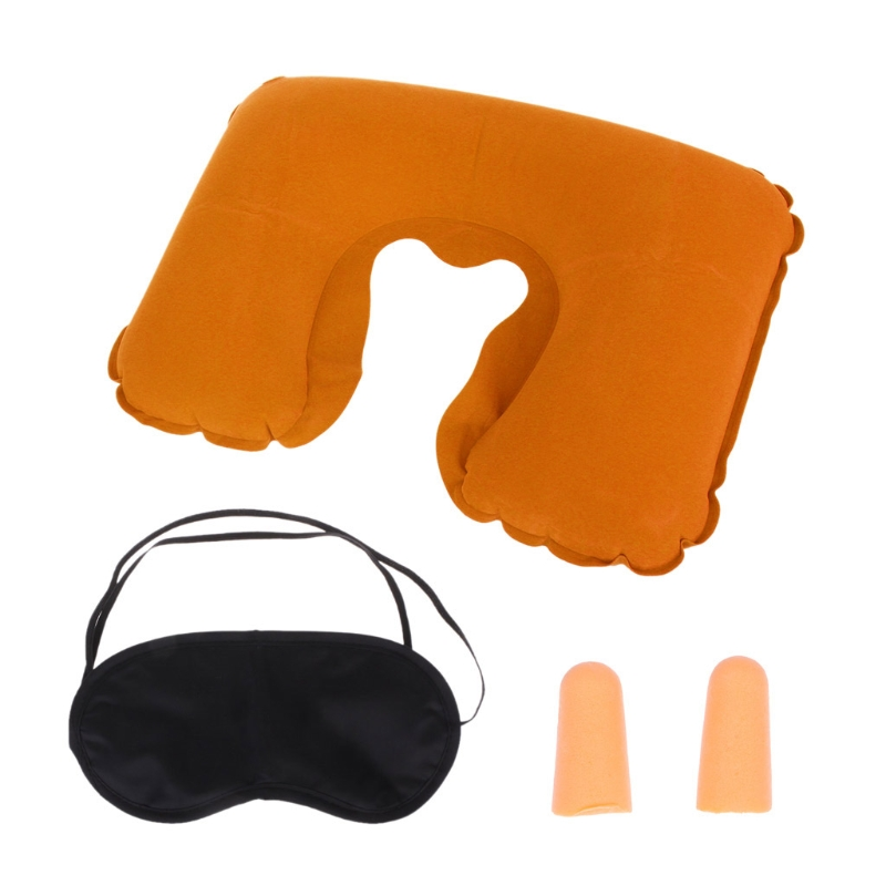 1 Set Portable Inflatable Flight Pillow Neck U Rest Air Cushion Eye Mask Earplug Kit For Travel Home