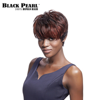 Black Pearl Short Pixie Cut Wigs For Black Women Dark Black Brown 100% Human Hair Wigs With Bangs Short Wavy Party Full Wig