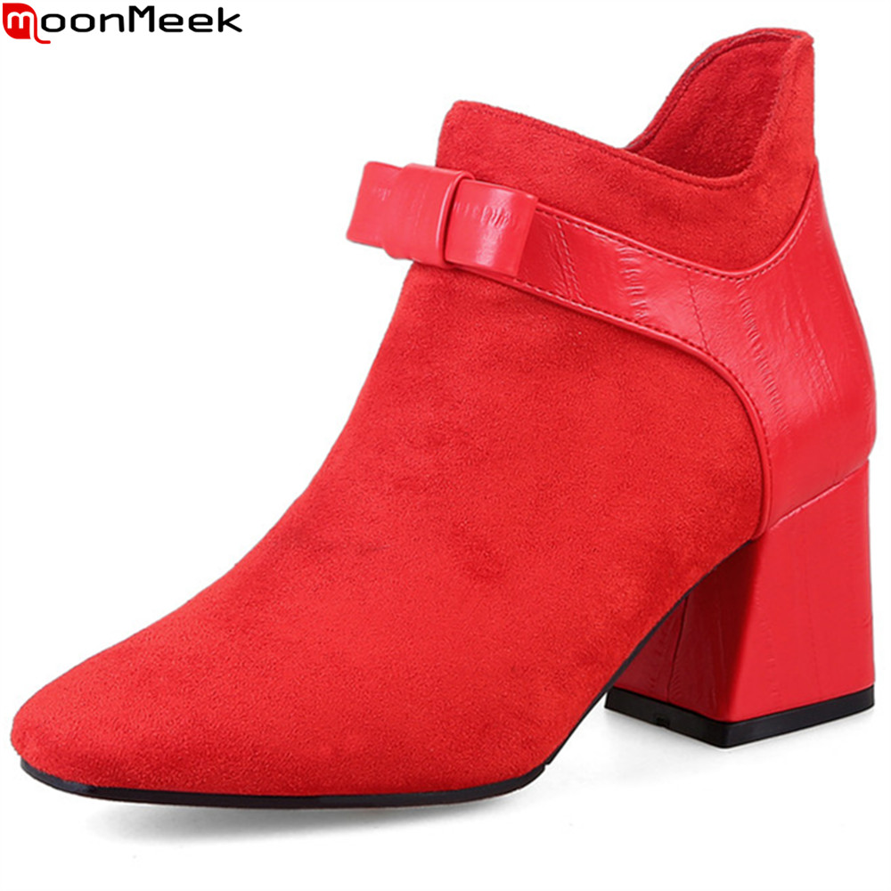 MoonMeek black red fashion autumn winter new arrival women shoes square toe ladies boots zipper square heel ankle boots moonmeek 2018 fashion autumn winter new