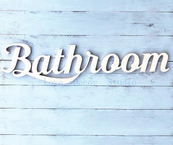 bathroom wooden sign pvc words home hotel black decor script letters