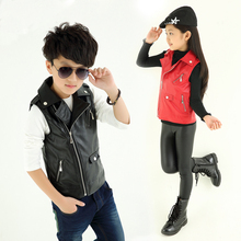 Spring Autumn girls outerwear boys girl jackets and coat boy faux leather vest PU leather baby vest children jackets vest 4-12T