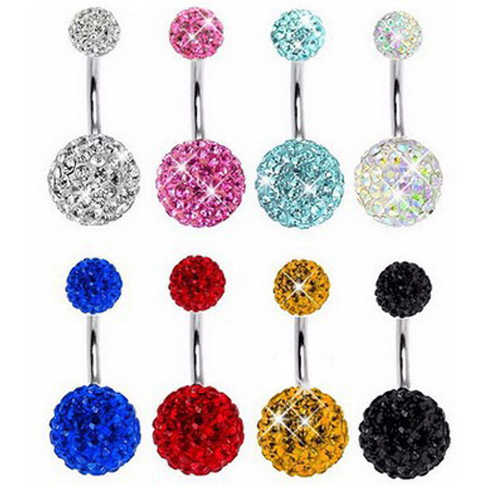 1PC crystal Steel Belly Piercings Navel Piercing Sexy Piercing Ear Piercings Navel Earring Body Jewelry Round Body Ring Jewelry(China)