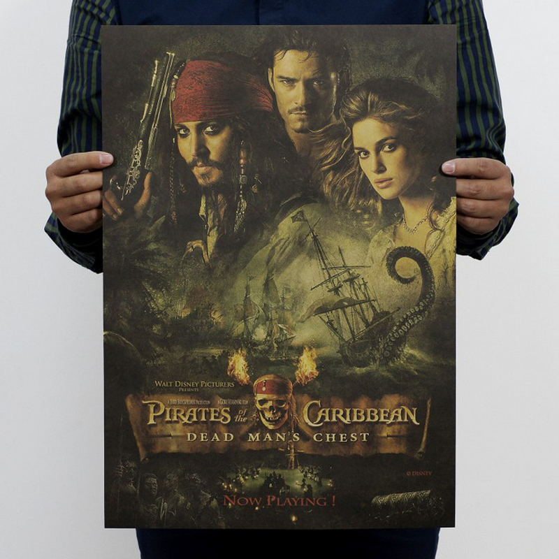 Free shipping,Pirates of the Caribbean 2/jack sparrow/movie/kraft paper/bar poster/Retro Poster/decorative painting 51x35.5cm