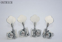 4 Pcs Right Handed Machine Head Tuners Tuning Pegs for Bass Guitar Black And Silver
