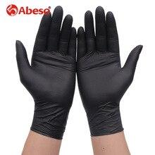 100 Pcs Groothandel Multifunctionele Comfortabele Wegwerp Rubberen Handschoenen Zwarte Dikke Duable Huishoudelijke Waterdichte Industriële Handschoenen