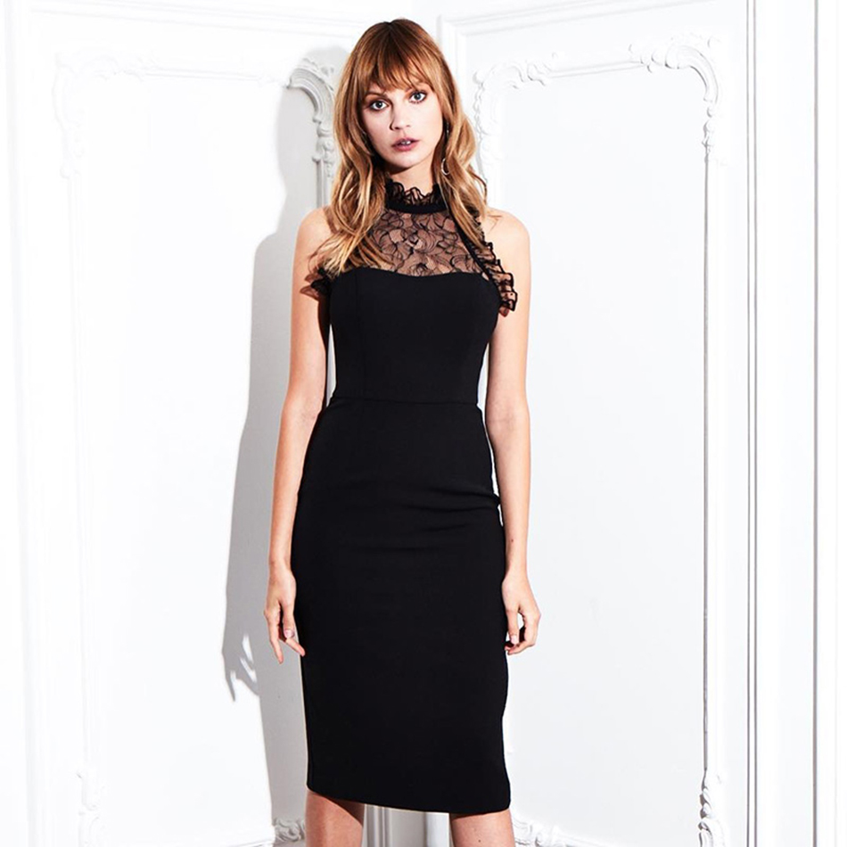 high quality 2019 New Women black Lace O-neck sleeveless Vestidos Celebrity evening party bodycon bandage dresses