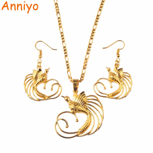 Anniyo gold color bird of paradise pendant necklaces and earrings anniyo gold color bird of paradise pendant necklaces and earrings for womenpapua new guinea aloadofball Image collections