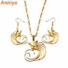 Anniyo Gold Color Bird of Paradise Pendant Necklaces and Earrings for Women,Papua New Guinea Jewelry PNG National Style #085406