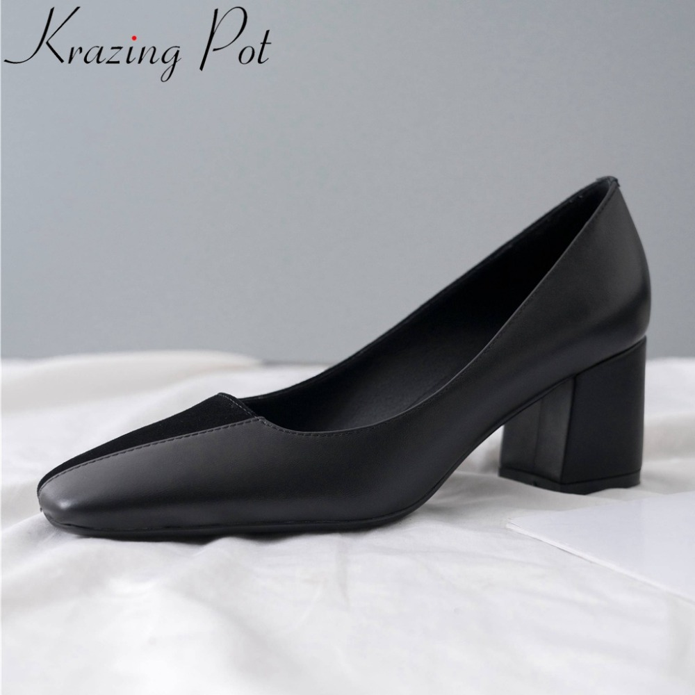 Krazing Pot new genuine leather chunky med heels slip on dress dating pumps patchwork square toe