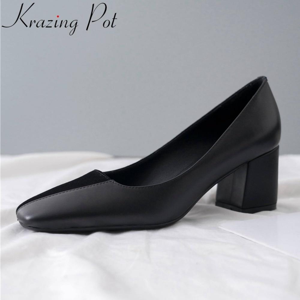 Krazing Pot nouveau en cuir véritable chunky med talons sans lacet robe datant pompes patchwork bout carré bureau dame printemps chaussures L44-in Escarpins femme from Chaussures    1