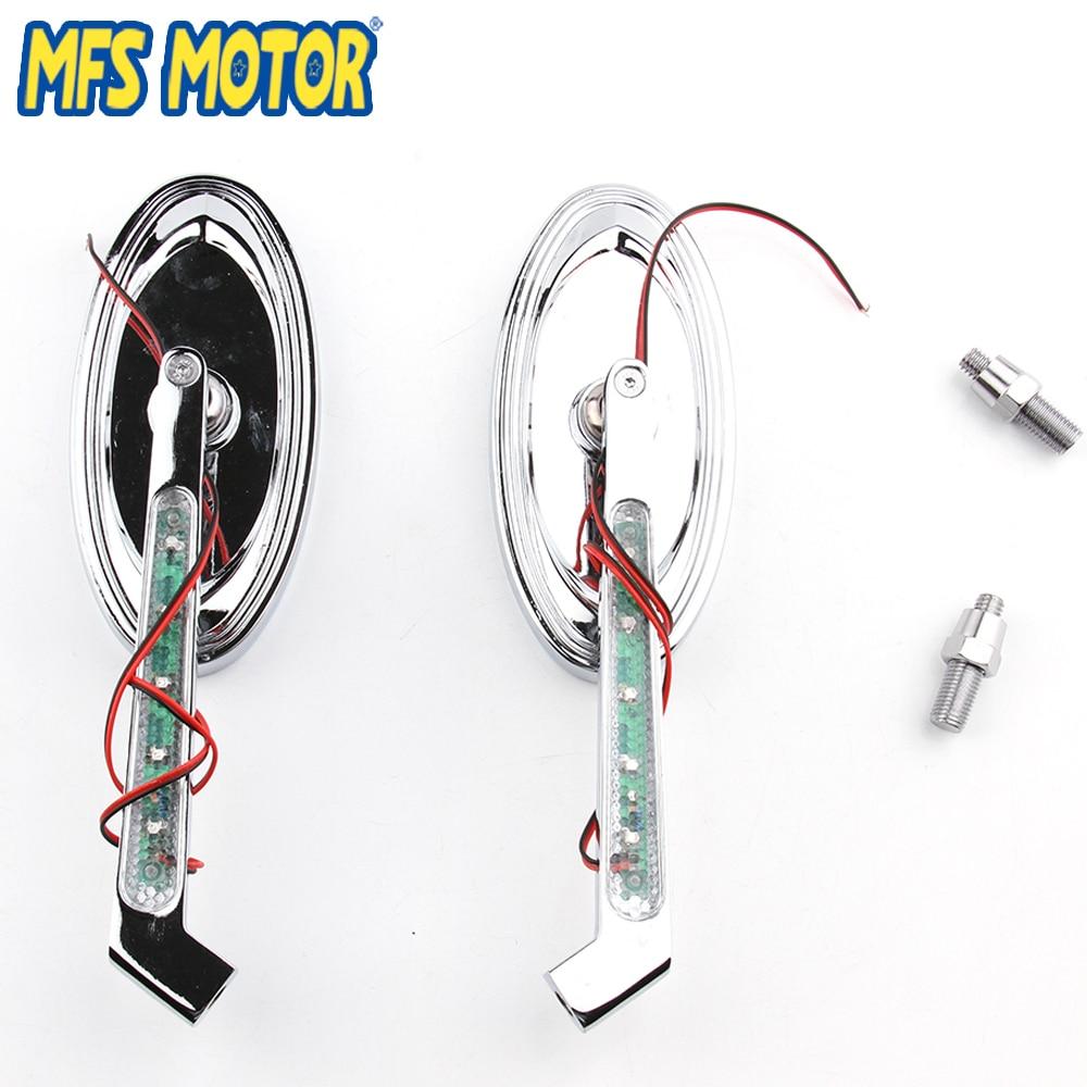 Pièces de moto LED clignotant style ovale miroirs de course pour Harley Low Rider v-rod
