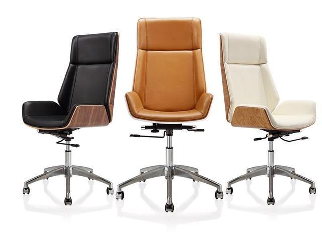 Reclning haute retour en bois courbé pivotant bureau chaise d