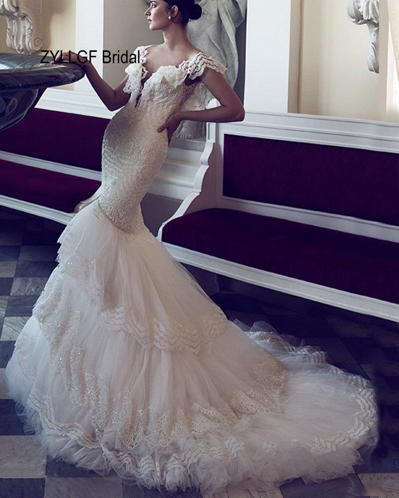 ZYLLGF Bridal Sexy Backless Mermaid Wedding Gown Dress