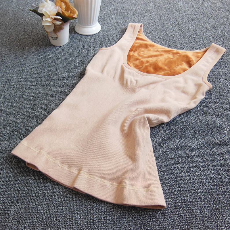 Autumn And Winter Meat Skin Color Thermal Underwear Vest Plus Velvet Thickening Female Basic Shirt Top Beauty Care Body