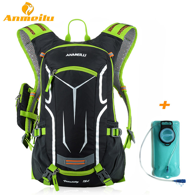 ANMEILU 18L Camping Hiking Backpack Waterproof Outdoor Sport Rucksack 2L Water Bag Climbing Cycling Backpack With