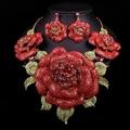 Новый Свадебные Украшения Устанавливает Свадебный Ожерелье Серьги Для Невесты Партии Аксессуары Позолоченные Большие Красные Цветы Украшения Подарочные Женщины