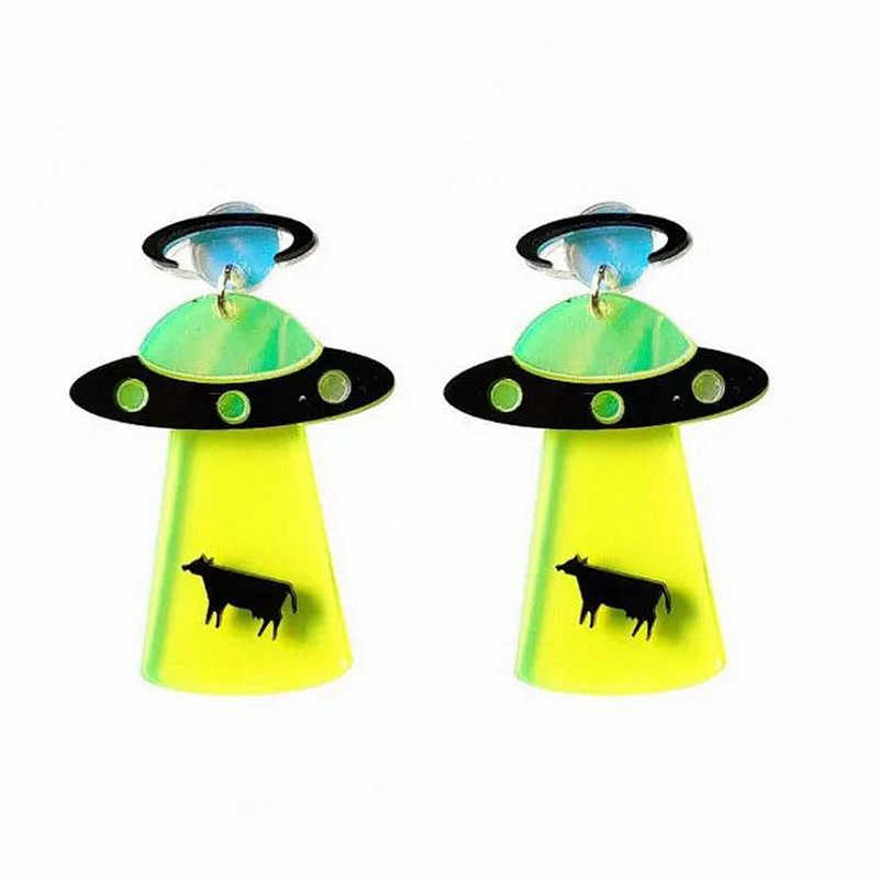 2019 New Arrival Personality Acrylic Geometric UFO Spaceship Flying Saucer Alien Dangle Drop Earrings For Girl Women Jewelry