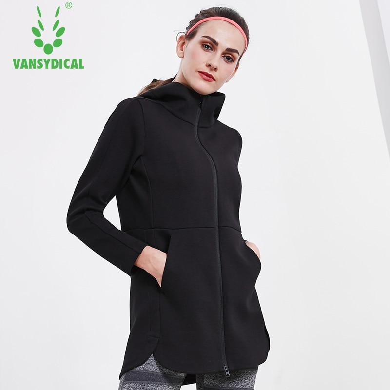 Vansydical Women Winter Jacket Sports Hooded Windproof Coat Long Running Yoga Jackets Womens Fitness Workout Sportswear Tops