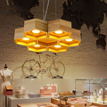Moderne Kreative Eiche Holz Vertraglich Waben Holz Anhänger Lichter LED Anhänger Lampe leuchte für Cafe Wohnzimmer Decor-in Pendelleuchten aus Licht & Beleuchtung bei