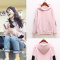 5xl plus big size women spring autumn winter 2017 feminina cute sweet thin plus velvet pink hooded sweatshirts female A2375