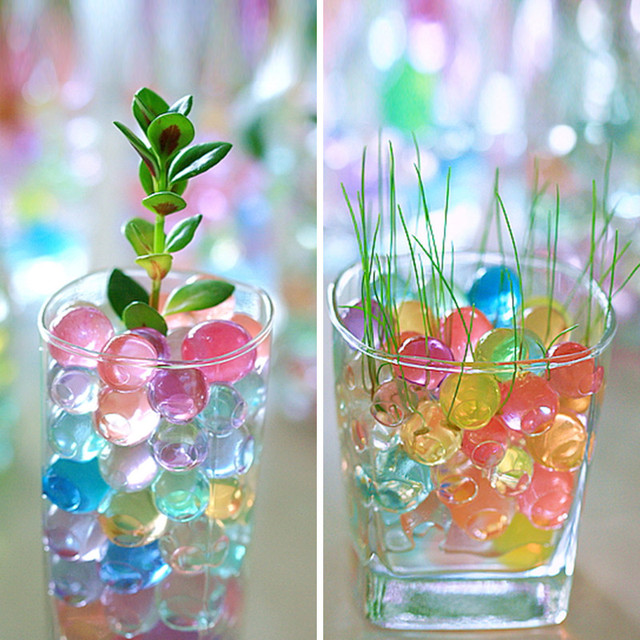 Jelly Ball Decor Pleasing 100Pcs Crystal Soil Mud Grow Water Beads Hydrogel Magic Gel Jelly 2018