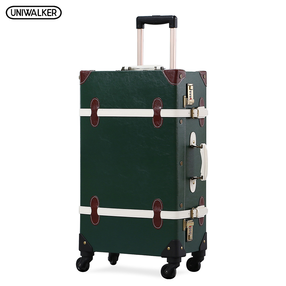 UNIWALKER PU Leather Dark Green Retro Rolling Luggage 20''22''24''26'' Set Travel Trolley Suitcase Carry On with Spinner Wheels uniwalker 2022 24 26 drawbars