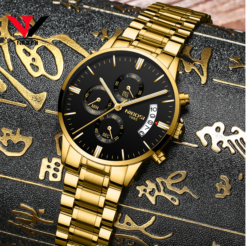 2019 NIBOSI Gold Quartz Watch Top Brand Luxury Men Watches Fashion Man Wristwatches Stainless Steel Relogio Masculino Saatler 1