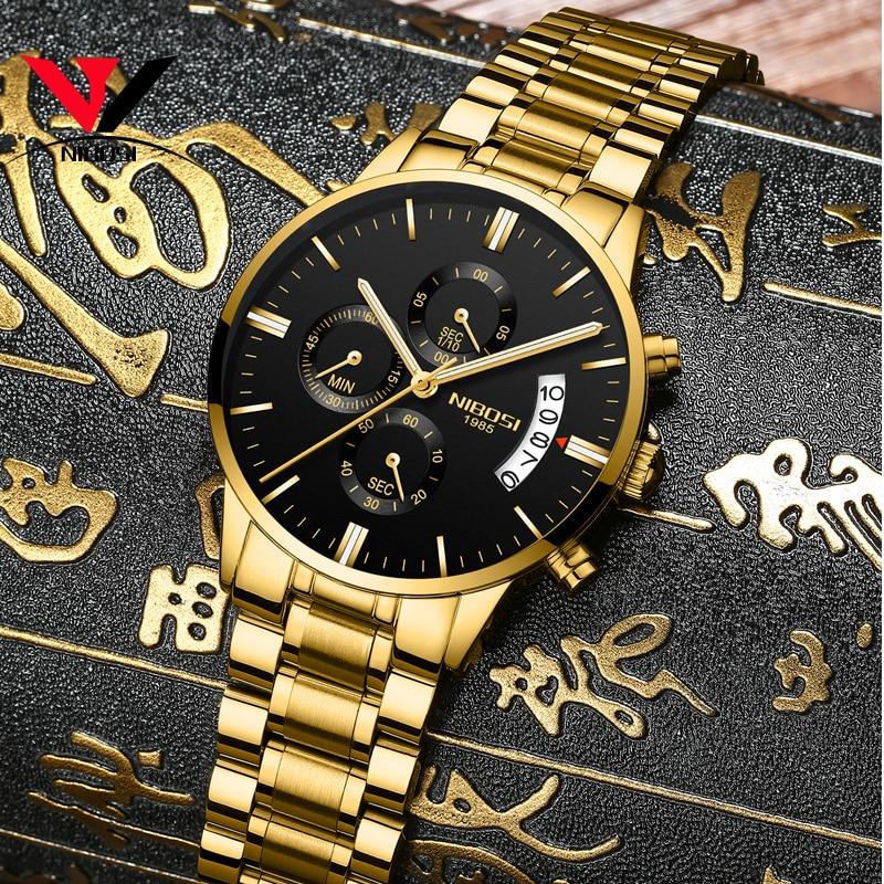 2019 NIBOSI Gold Quartz Watch Top Brand Luxury Men Watches Fashion Man Wristwatches Stainless Steel Relogio Masculino Saatler    1