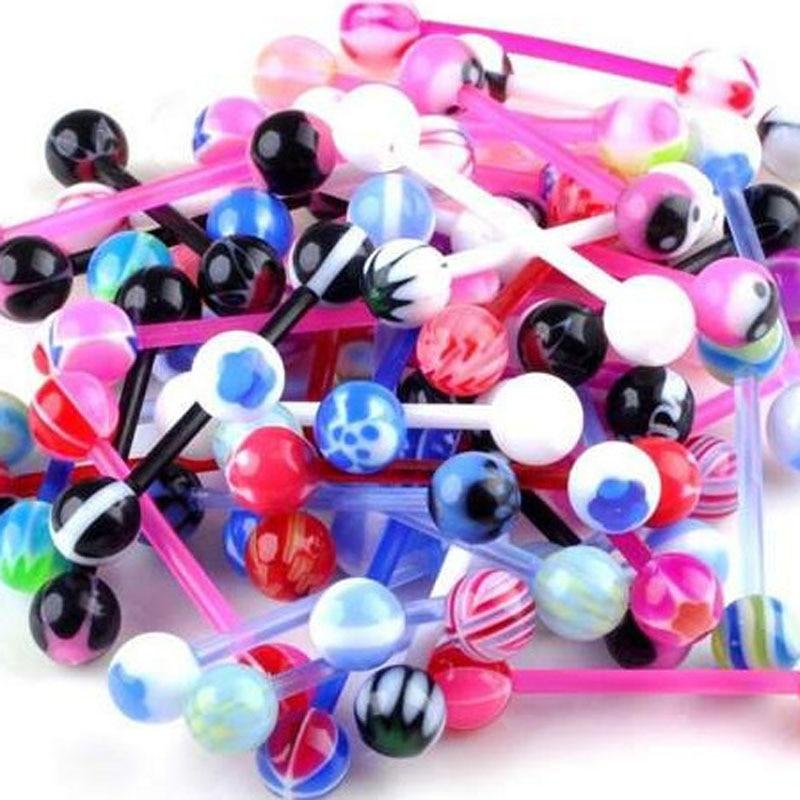 50Pcs Mixed Ball Tongue Ring Navel Nipple Barbell Rings Bars Body Jewelry Unisex