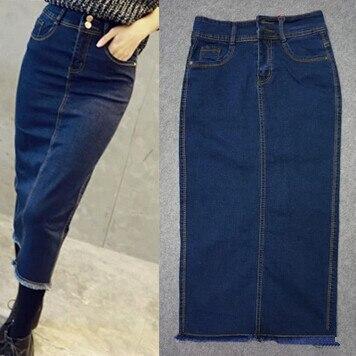 American Apparel Beiläufige Dünne Split Weibliche Maxi Jeans Röcke Denim Bleistift Enge Blaue Lange Röcke Für frauen
