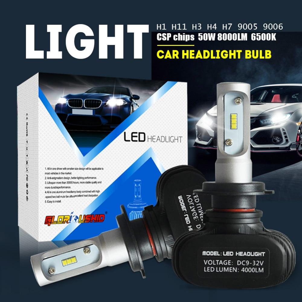 2 unids H7 LED H4 H11 H1 H3 9005 9006 coche LED faro lámpara auto de la niebla 50 W 8000LM automóvil bombilla chips CSP 6500 K iluminación del coche