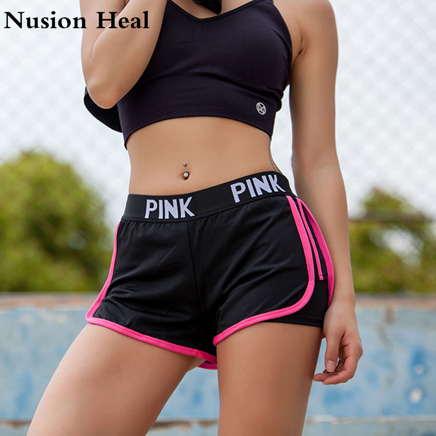 PINK Letter Running Shorts Yoga Sexy Hip Gym Sports For Workout Run Slimming Beach Hiking Quick Dry Running Short Female Jogging