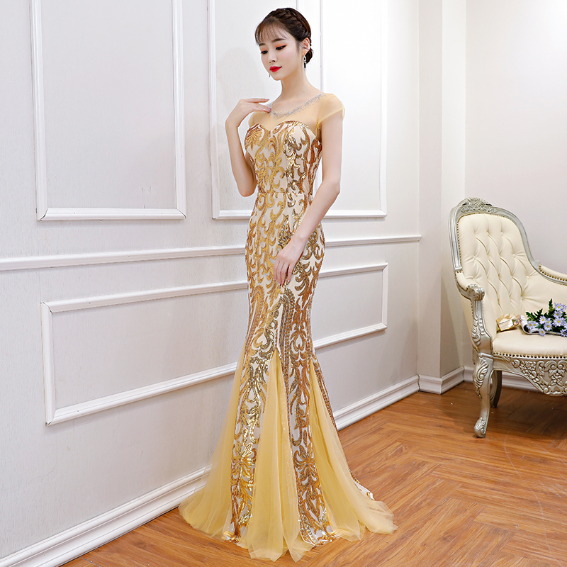 Noble Gold Sexy Women Full Length Mermaid Dress Sequins Elegant Long Slim Evening Gowns Vestidos Fashion Lady Banquet Dresses