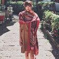 Popular vermelho Borla Boêmio Geométrica Asteca Xale Viscose Lenço 2017 Espanha Marca Silenciador Envoltório Casual Prints Voile de Algodão Hijab Caps