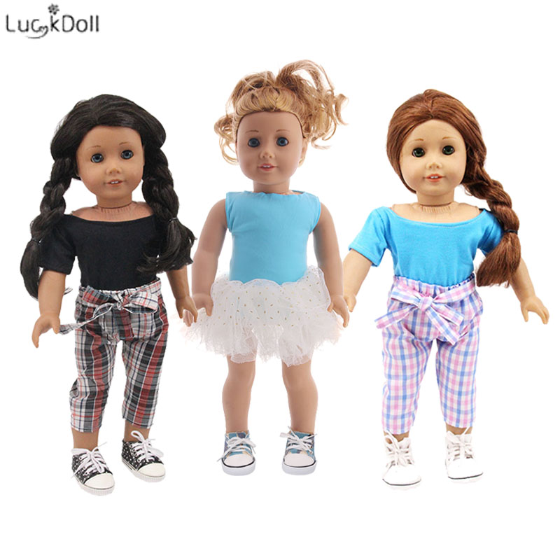 3 Styles Pretty Suit(Dress Or Pants+T-shirt) Fit 18 Inch American&43 CM Baby Doll Clothes Accessories,Girl's Toys,Generation