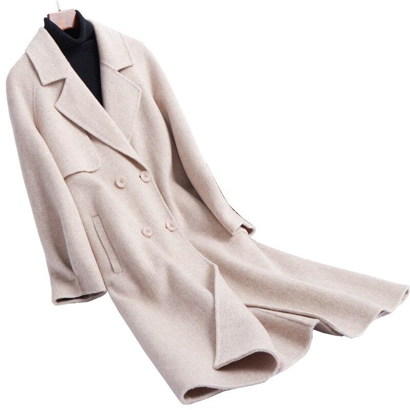 Flanelle 2xl Couleur Détail En Élégante Col s Pardessus Mode Mince Costumes Brun L'ue 4 Femmes Gros Au Long face Style Double Tissu fTpq55
