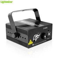 Roja láser verde de dj azul etapa de iluminación led de control remoto de voz 3 Lente 18 Patrones de luz del disco de DJ del partido Proyector de Luz