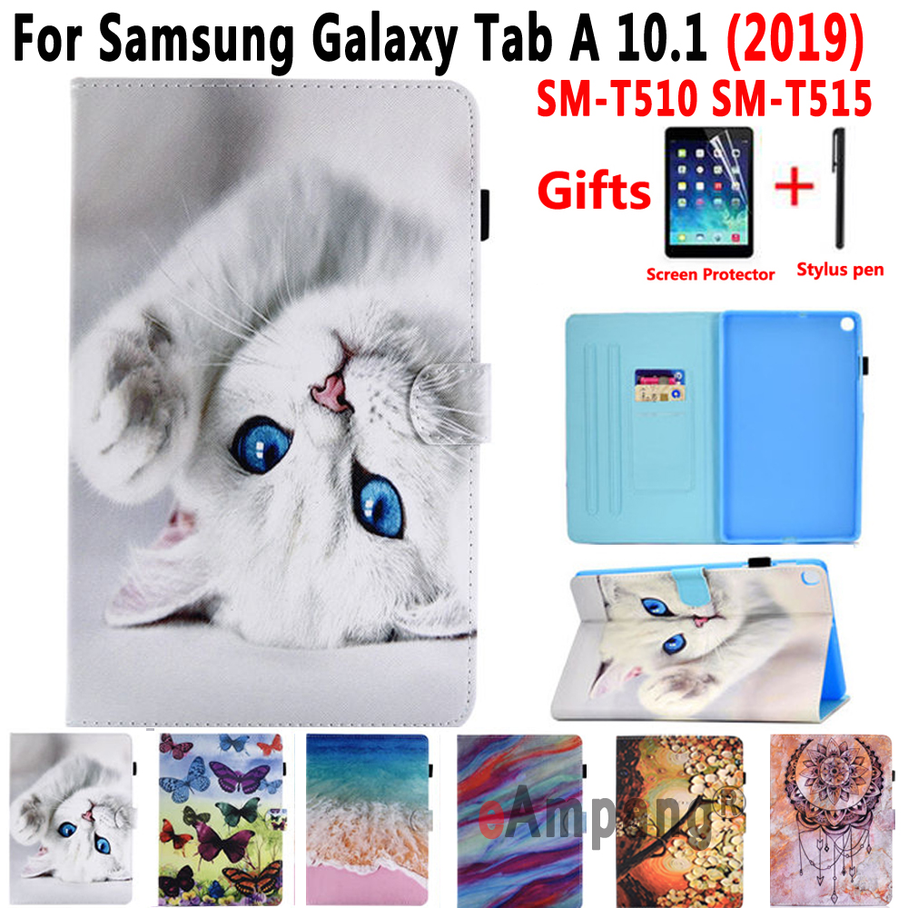 SM-T510 SM-T515 Case For Samsung Galaxy Tab A 10.1 2019 T510 T515 Cover Lid Soft Leather Case For Samsung Tab A 10.1 2019 Funda