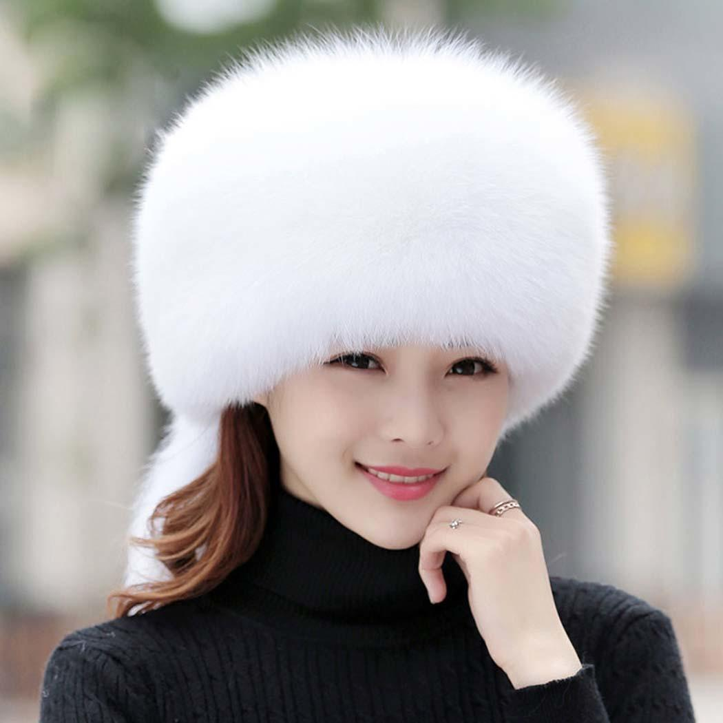 Women Winter Warm Casual Artificial Faux Fur Solid Snow Cap Knitted Fall, Hat Casual, Street, Outdoor