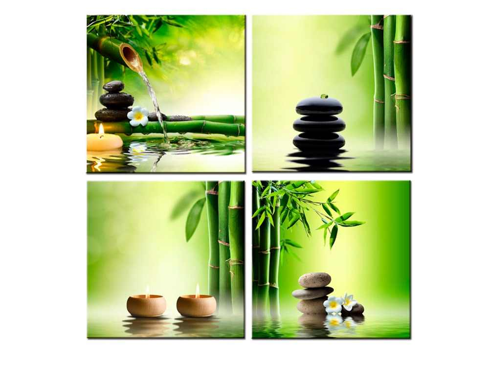 4 panel Zen Canvas Prints Perfect Bamboo Green Pictures on Canvas Wall Art for Home Office Decorations Living Room
