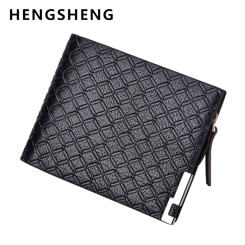 HENGSHENG Famous Brand Men Short Wallets Male Black Coffee Leather Wallet Purse with Zip Coin Pocket Card Holder for Men 2017 men business short leather wallet male brand wallets purses with card holder for men