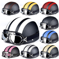 The global hot sales Motorcycle Helmets For Harley Open Face Retro Half Moto Helmets With Goggles Leather Scarf Helmet