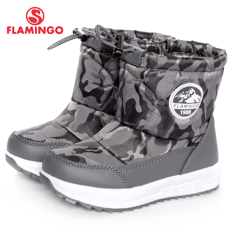 FLAMINGO Wool Warm Winter Waterproof Anti-slip High Quality Kids Shoes Orthotic Arch Size 25-30 Snow Boots for Boy W6NQ013 gsou snow brand winter ski suit men ski jacket pants waterproof snowboard sets outdoor skiing snowboarding snow suit sport coat