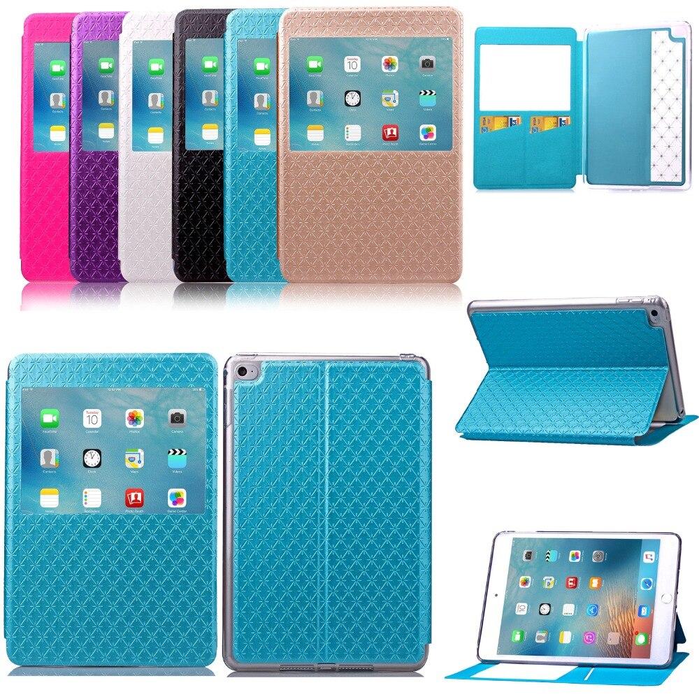For Apple iPad mini 4 folio Flip Smart Case Stand with Window View Card Packet Sleep Wake Up Slim diamond shaped Cover