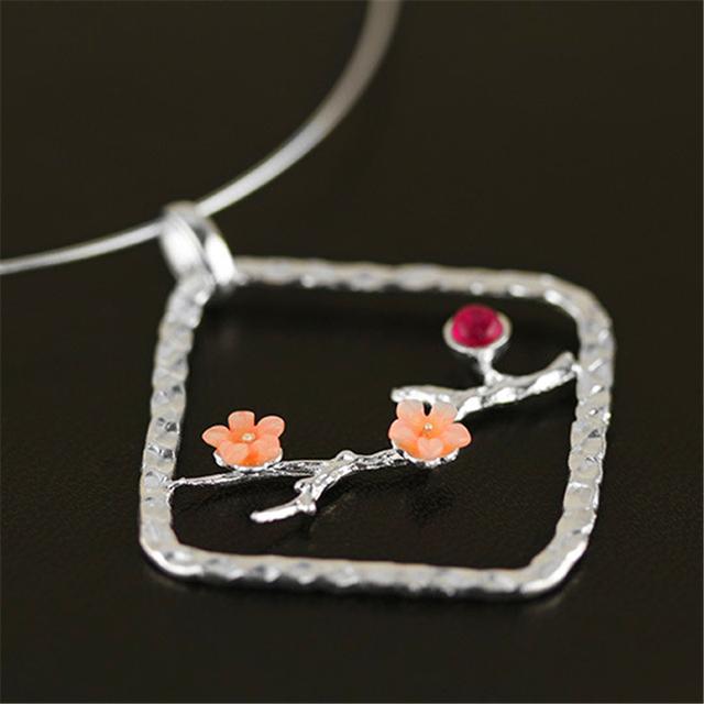 Exclusiva! new very special and ethnic plum blossom diseño colgante verdadera plata de ley 925 mujeres hechas a mano de joyería de moda