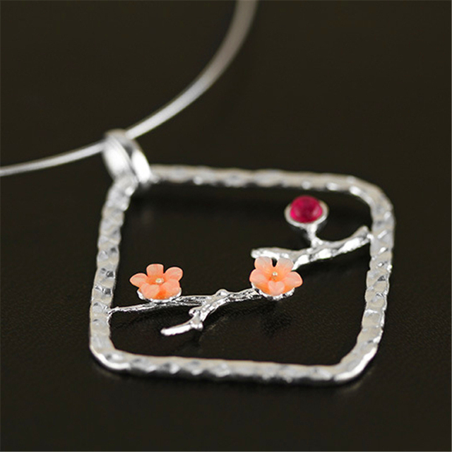 Exclusive!  New Very Special And Ethnic Plum Blossom Design Pendant Real 925 Sterling Silver Handmade Women Fashion Jewelry