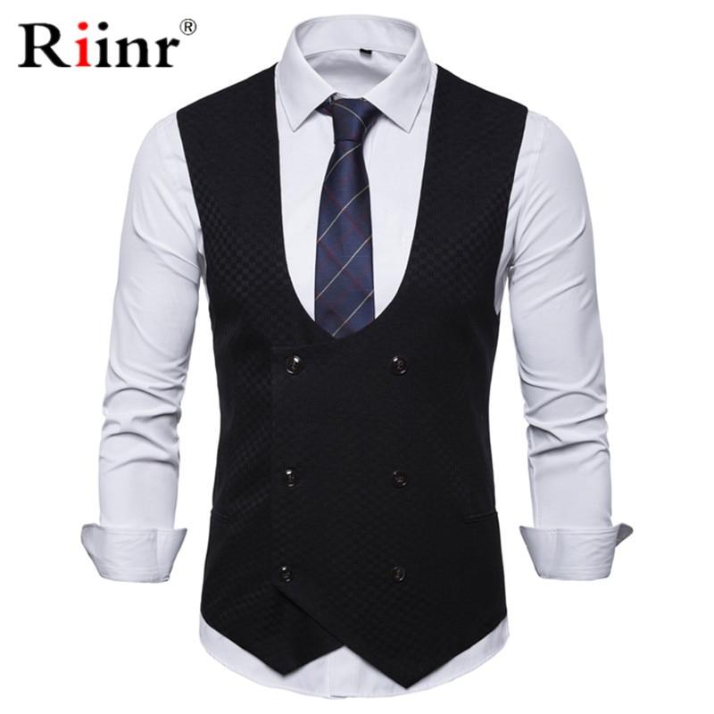 Men Vests Double Breasted Gentlemen Mens Shawl Collar Soild Vests Suit For Male Vest Business Chalecos Para Hombre