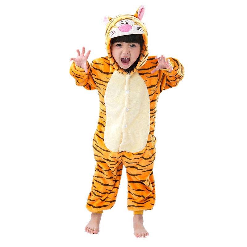 Uşaqlar üçün Tiger Kigurumi Uşaqlar Onesie Pijama Cosplay - Karnaval kostyumlar - Fotoqrafiya 1
