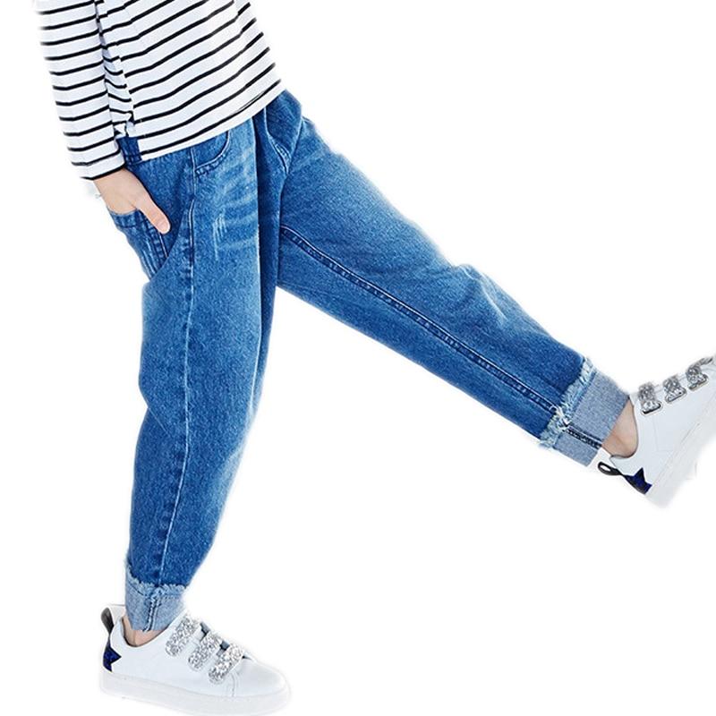 girls trouser pants 2018 new autumn winter girls denim pants solid loose kids jeans pants casual loose girls harem pants 2-7T afs jeep winter men s long trousers mens straight jeans casual loose waistline autumn long trouser man male botton plus size 42